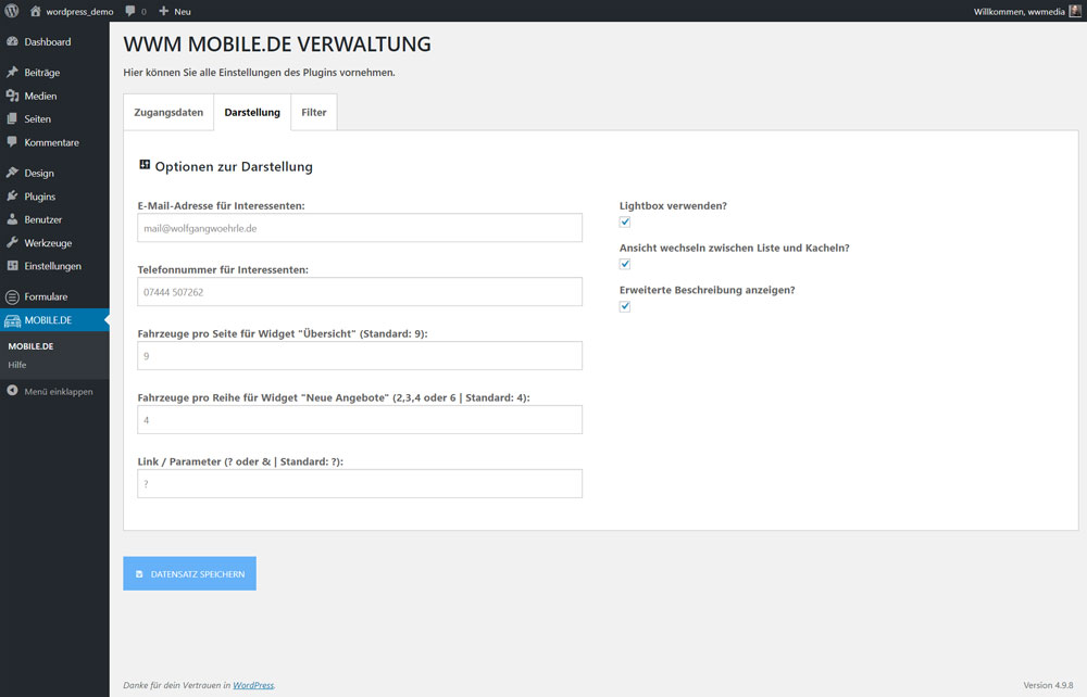 Wordpress Plugin WWM mobile.de